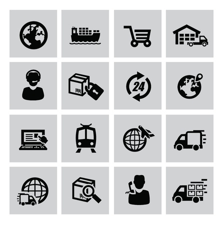 warehouse: vector black logistic and shipping icon set