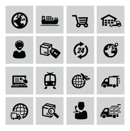 wektor czarny zestaw ikon logistycznych i wysyłka Ilustracje wektorowe
