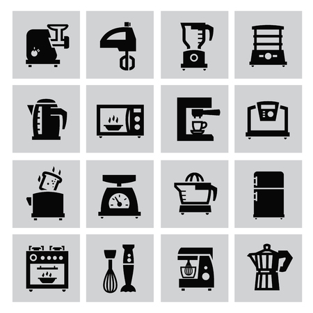 kitchen scale: Black household icon set on gray Illustration