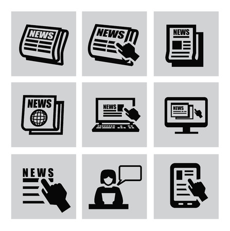 Black newspaper icons set on gray Stock Vector - 22444606
