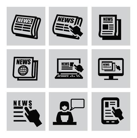 Black newspaper icons set on gray Stock Vector - 22444606