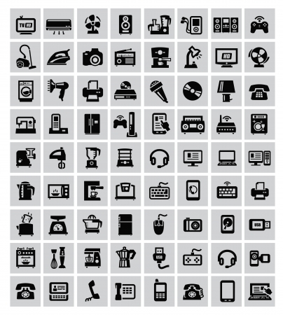 big set of electronic devices on gray Vector