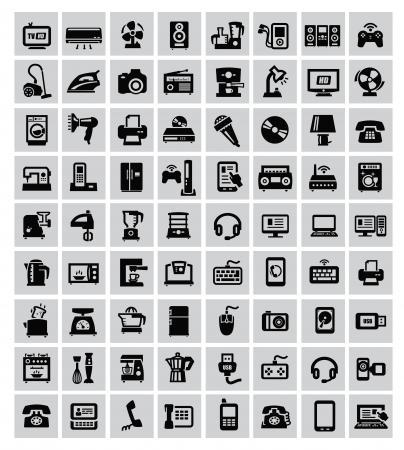 grote reeks elektronische apparaten op grijs