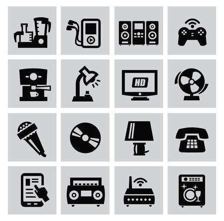 electronic music: big set of electronic devices on gray Illustration