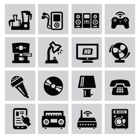 musica electronica: gran conjunto de dispositivos electrónicos en gris Vectores