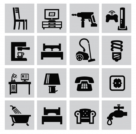 furniture computer: Black furniture and home icons set