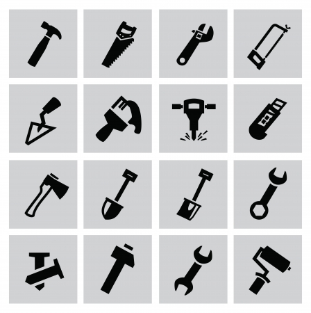 tooling: Black construction tools icons set on gray