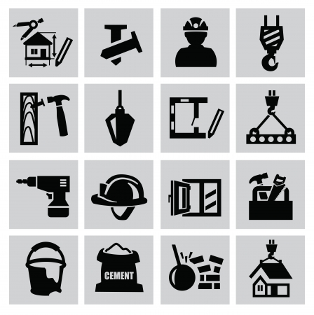 construction helmet: Black construction icon set on gray