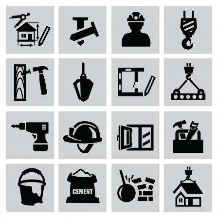 ingenieurs: Zwarte bouw pictogram ingesteld op grijs Stock Illustratie