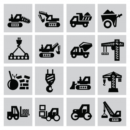 Black construction icon set on gray Vector