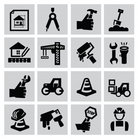 Black construction icon set on gray Stock Vector - 22444628