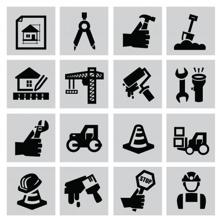 Icono de la construcción Negro ubicado en gris