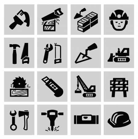 Black construction icon set on gray Stock Vector - 22444636