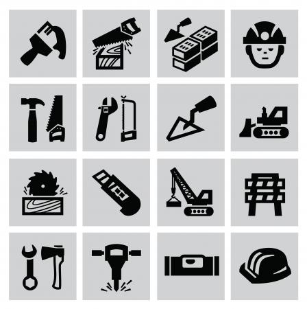 Black construction icon set on gray Stock Vector - 22444636