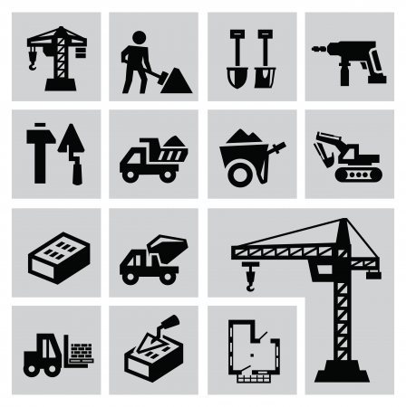 Black construction icon set on gray Stock Vector - 22444644