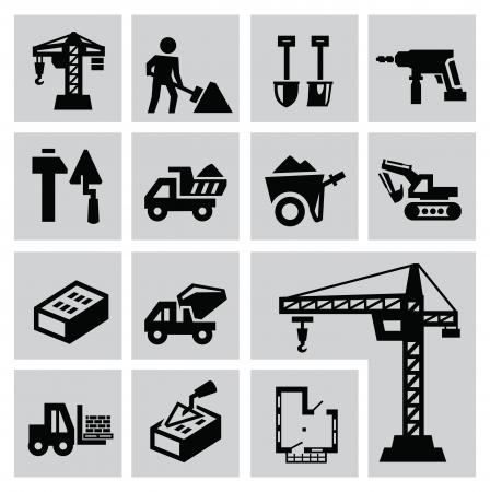 cement mixer: Black construction icon set on gray