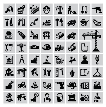 Black construction icon set on gray