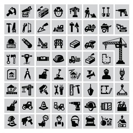 Czarna ikona konstrukcja ustawiona na szaro