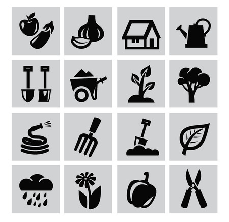 dug: Black gardening icons set on gray