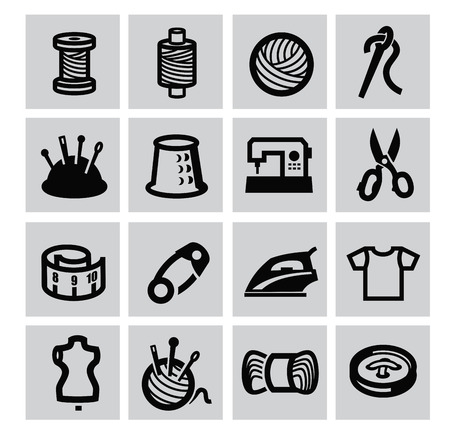 tailor: Black sewing equipment icon set on gray Illustration