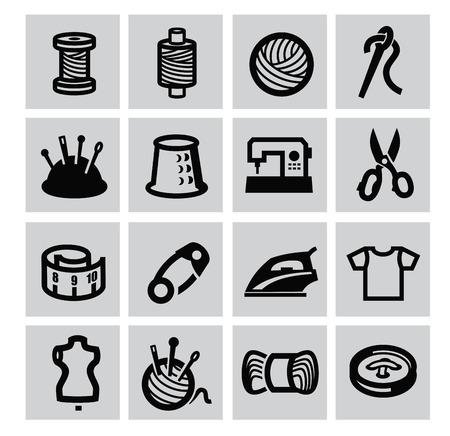 notions: Negro icono equipos de costura ubicado en gris