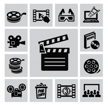 Black movie icon set on gray Vector