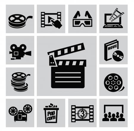 Black movie icon set on gray Stock Vector - 22444650