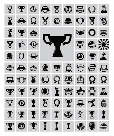 Black trophy and awards icons set Ilustrace