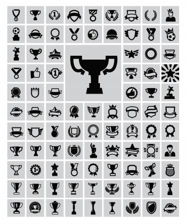 reward: Black trophy and awards icons set Illustration