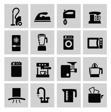 Black kitchen icons set on gray Stock Vector - 22444660