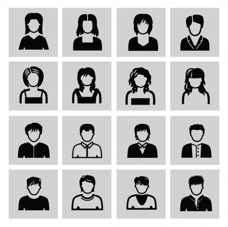 vector black people icons set on gray Vector