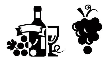 black grape: Black wine icon set on white