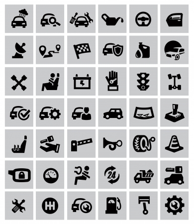 machine shop: vector black auto icons set on gray