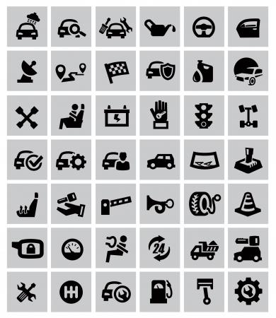 automotive parts: vector black auto icons set on gray