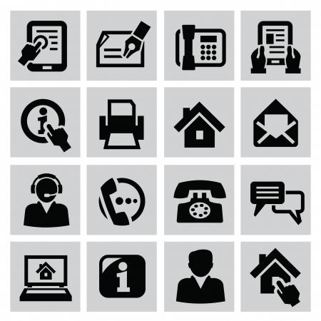 iconos contacto: iconos vectoriales de contacto conjunto negro sobre fondo gris