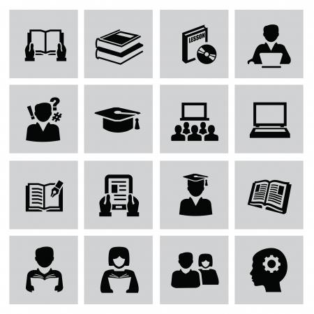high school student: Black education icons set on gray Illustration