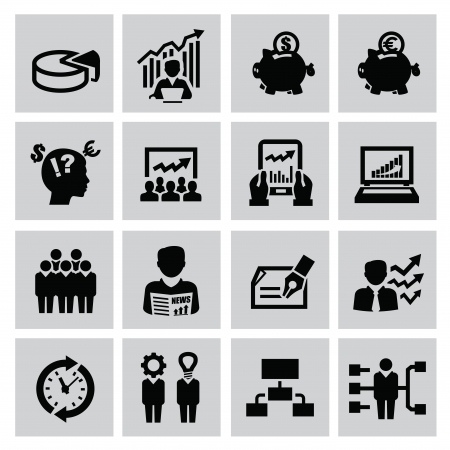 Black business icons set on gray Stock Vector - 22444674