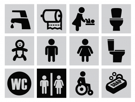 vector black man woman restroom icons set on gray Stock Vector - 22698110
