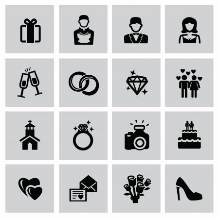ring life: vector black wedding icons set on gray
