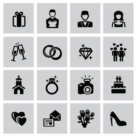 vector black wedding icons set on gray Stock Vector - 22698113