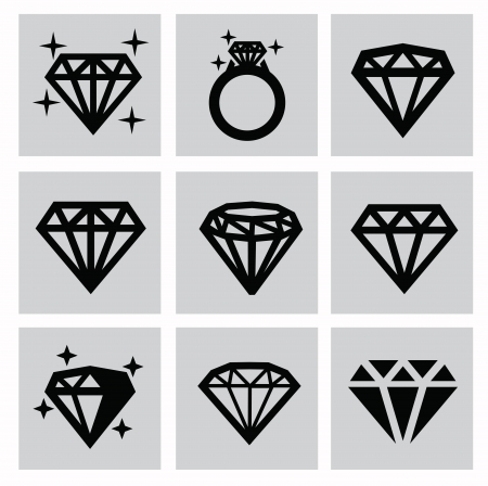 vector black diamond icons set on gray