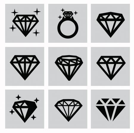 vector zwarte diamant pictogrammen instellen op grijs Stock Illustratie