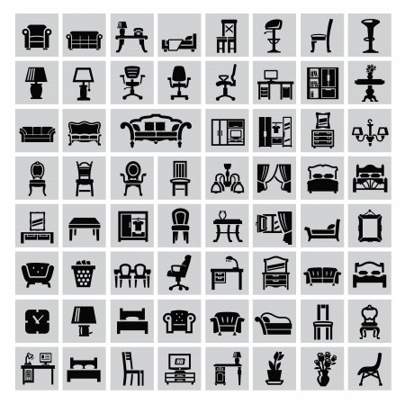 vector black house furniture icon set on gray