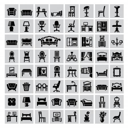 butacas: vector negro casa de muebles de conjunto de iconos en gris