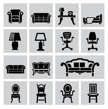 vector zwarte huismeubilair icon set op grijs Stock Illustratie