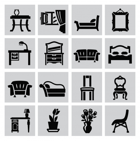 blind: vector black house furniture icon set on gray