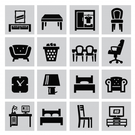 sofa furniture: vector black house furniture icon set on gray