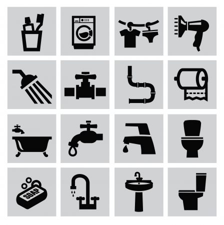 vector black bathroom icons sey on gray Vector