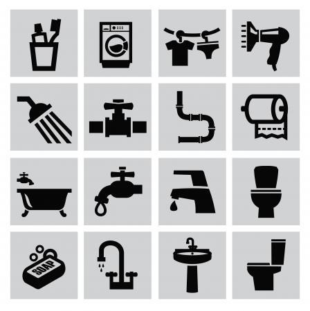 vector zwarte badkamer iconen sey op grijs Stock Illustratie