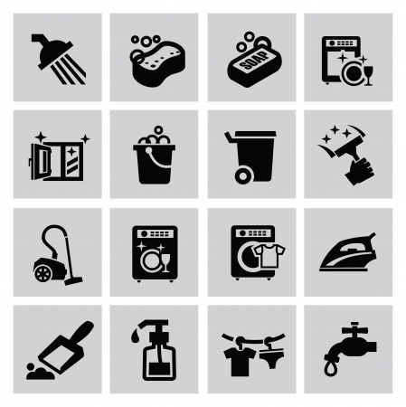 vector black cleaning icons set on gray Vector